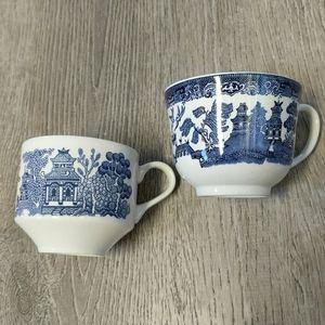 Vintage Blue Willow Tea Cups Decor Mismatched